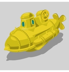 Toy yellow submarine isolated object vector image