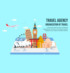 Travel agency flat banner with lettering text vector