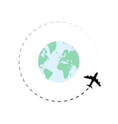 Travel route around globe with airplane vector