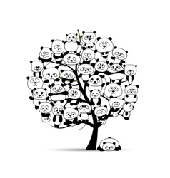 Tree with funny pandas sketch for your design vector image