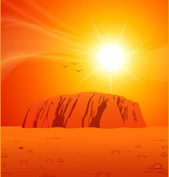 Uluru outback central australia sunset scene vector
