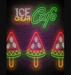 Vintage glow poster with ice cream watermelon vector