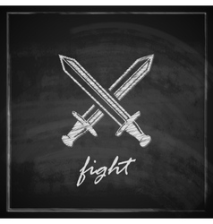 Vintage with swords on blackboard background vector