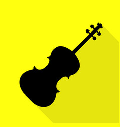 violine sign black icon with flat vector image
