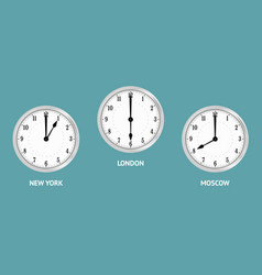 wall clocks showing local times vector image