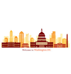 Washington dc landmarks skyline and skyscraper vector