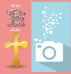 We are greeting married card cross and photo vector
