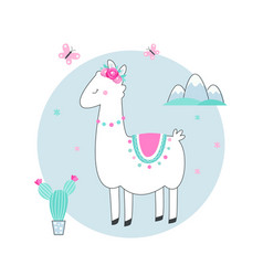 white llama or alpaca with cacti flowers and vector image