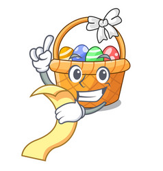with menu easter basket miniature the shape mascot vector image
