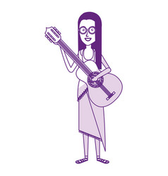 Woman playin the guitar character hippy lifestyle vector