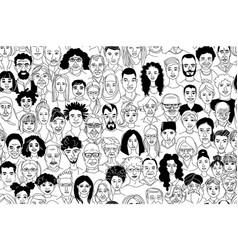 womens mens children portraits line drawing vector image