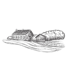 Landscape with Fields and Building sketch vector image