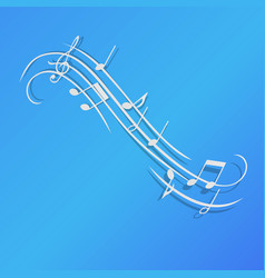 music notes background design blue paper isolated vector image