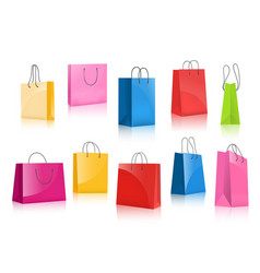 realistic colorful paper shopping bag set vector image
