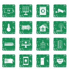 Smart home house icons set grunge vector