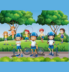 children exercising in the park vector image vector image