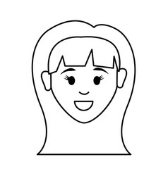 figure people happy face woman icon vector image vector image
