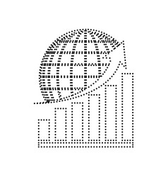 growing graph with earth black dotted vector image