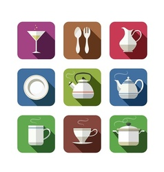 kitchen tableware set of icons vector image vector image