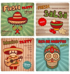Set of retro banners with Mexican symbols vector image vector image
