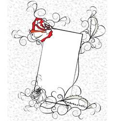 sketch of ornate roses frame vector image