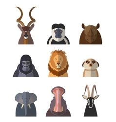 Icons of african animals1 vector image vector image