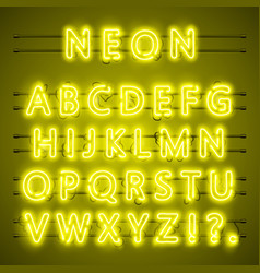 neon font city text night yellow alphabet vector image