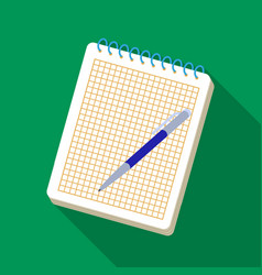 notebook and pen icon in flat style isolated on vector image