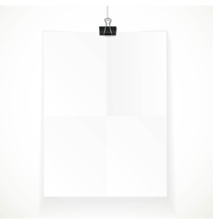 White paper hanging on binder isolated on a white vector image vector image