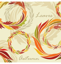 Autumn background of leaves and wreaths vector image