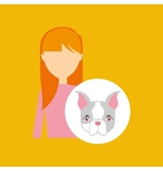 Character girl pet french bulldog graphic vector