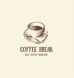 isolated abstract brown color coffee cup logo vector image vector image