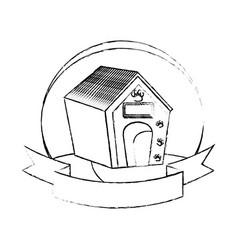 pet wooden house icon vector image