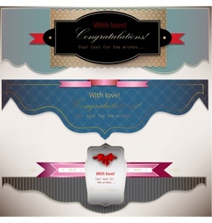 Set of holiday banners with ribbons background vector image vector image