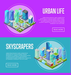 skyscrapers in downtown banners set vector image vector image