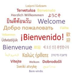 Welcome in different languages vector image