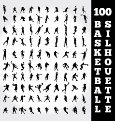 100 basketball silhouette vector