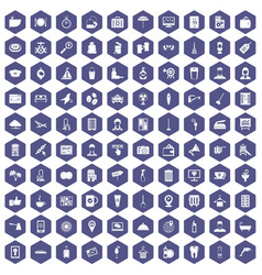 100 hotel services icons hexagon purple vector