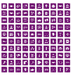 100 team icons set grunge purple vector image