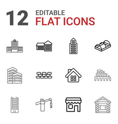 12 building icons vector image