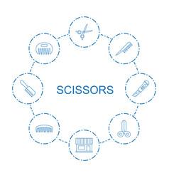 8 scissors icons vector