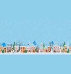 A snowy christmas street winter city panorama vector