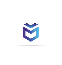 Abstract geometric letter m logo template vector