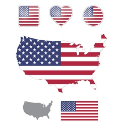 American flag and icons vector