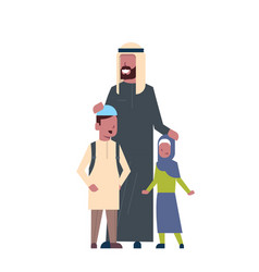 Arabic father beard son and daughter full length vector