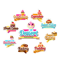 Bakery dessert pastry and ice cream symbol set vector