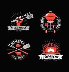 bbq barbecue grill logo or symbol labels vector image