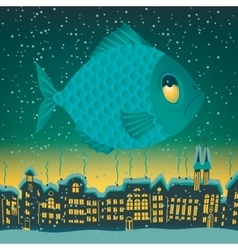 big fish flies through the sky vector image