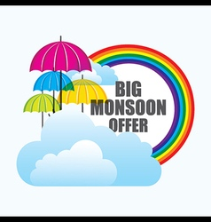 Big monsoon offer banner design with umbrella vector
