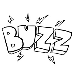 Black and white freehand drawn cartoon buzz symbol vector